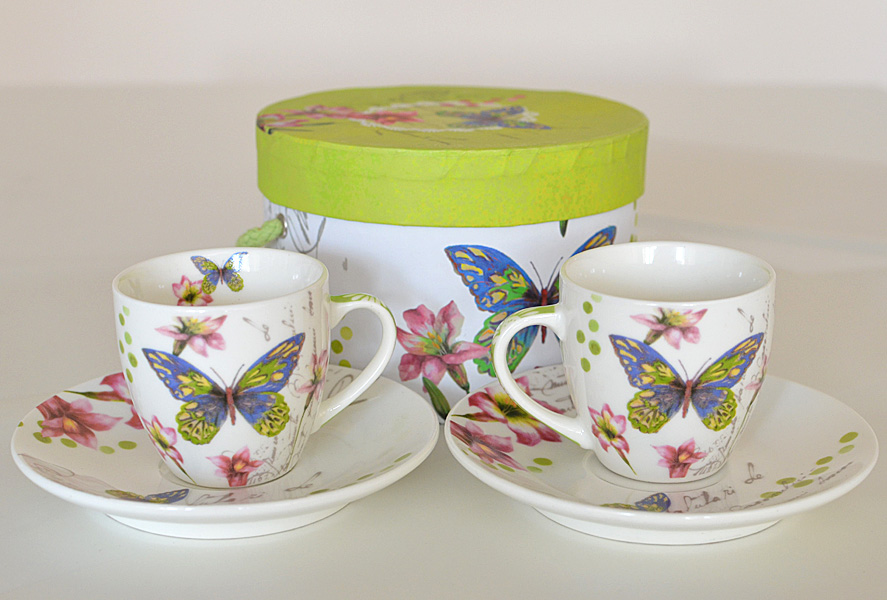 Two espresso cups set Butterfly Porcelain Accessories