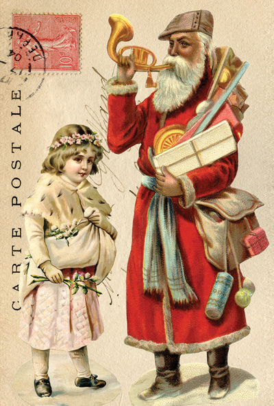 Collage with Santa Claus with a trumpet
