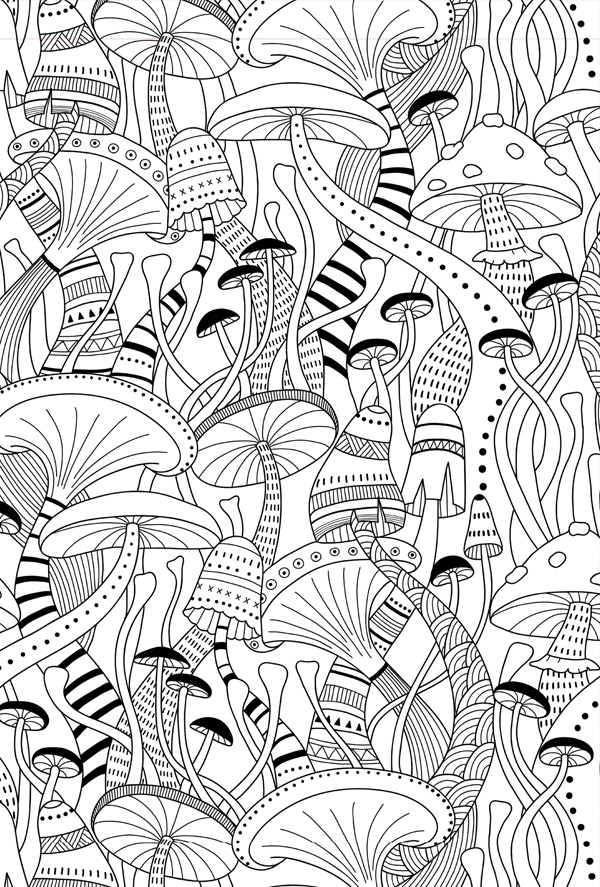 coloring postcard mushrooms