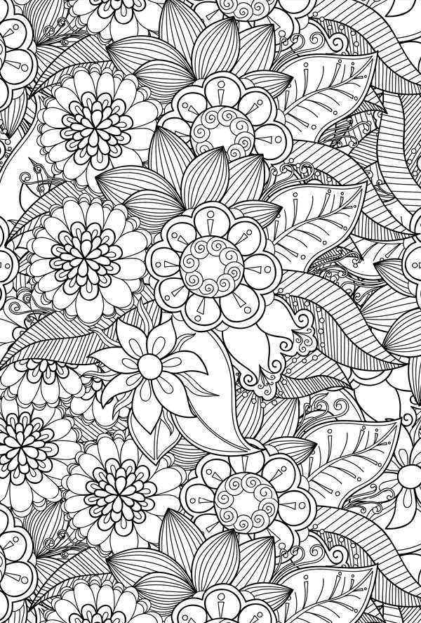 Coloring Postcard Flowers Coloring Postcards