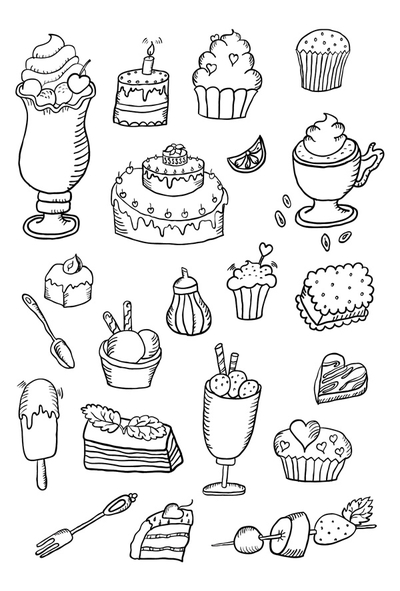 Coloring postcard - sweets