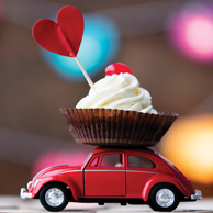 Little toy car with cup cake