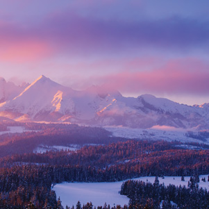 Mountain peaks at sunset