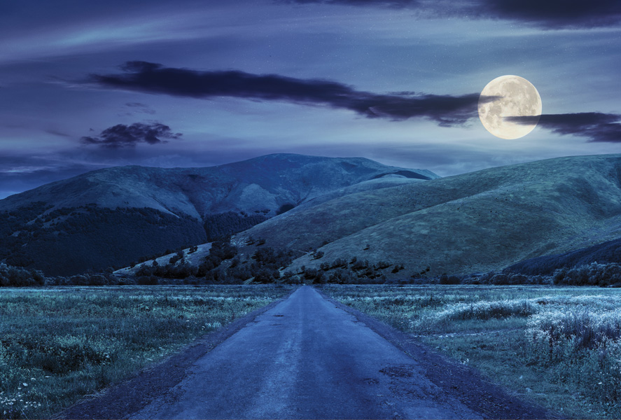 Night Landscape With The Moon Landscapes Postcards