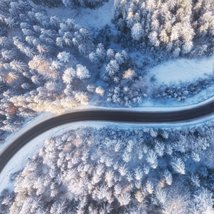 From a bird's eye view - winter road