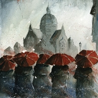 Grzegorz Chudy - Red umbrellas and old synagogue