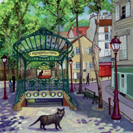 Isy Ochoa -  Kitten and Abbesses metro station in Paris