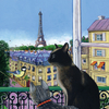 Isy Ochoa - Open window with two cats, Paris