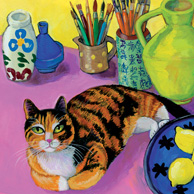 Isy Ochoa - Large pink interior with Cocotte, tricolor cat