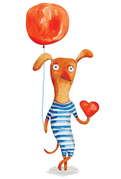 Dog with a balloon