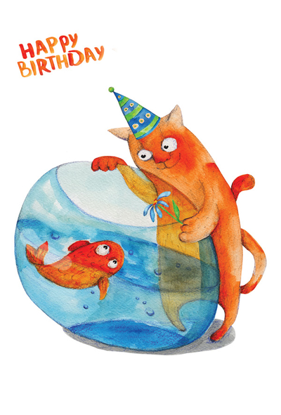 Birthday cat & fish