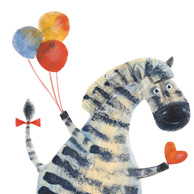 Zebra with balloons and a heart