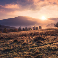 Poland - Love to be here... - Sunrise at misty foggy morning in Bieszczady
