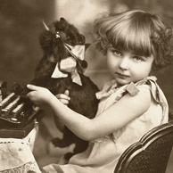Girl with a dog and a typewriter
