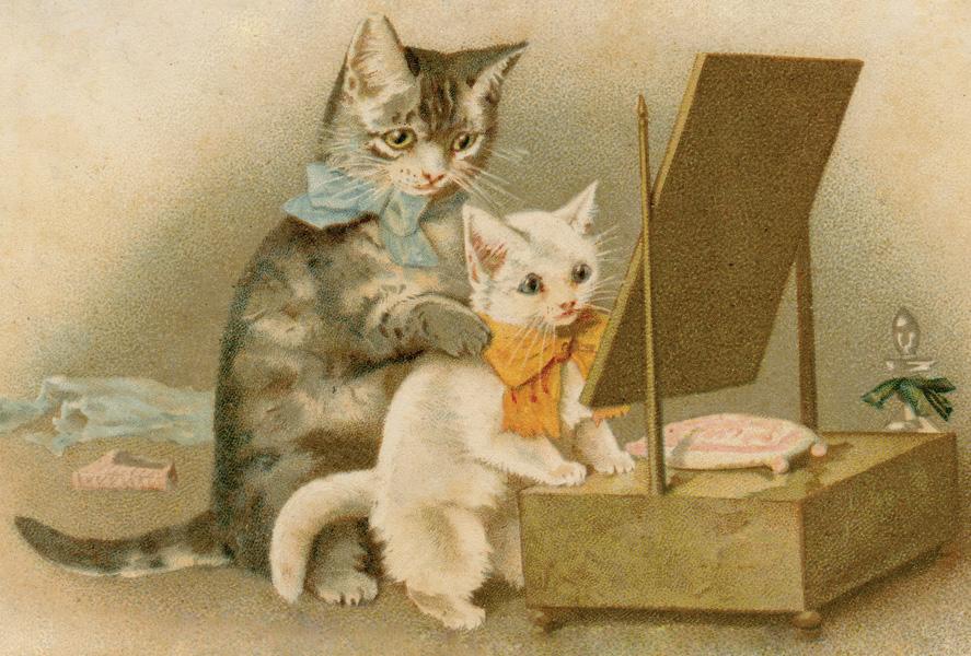 Открытки кошки ретро