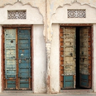 Antique doors to the temple