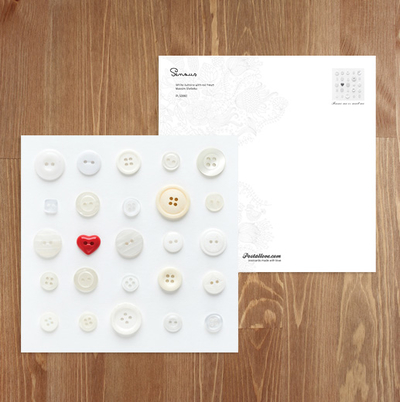 Heart-shaped button / Valentine's Day / Postcards / Postallove