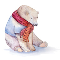 White bear in the scarf