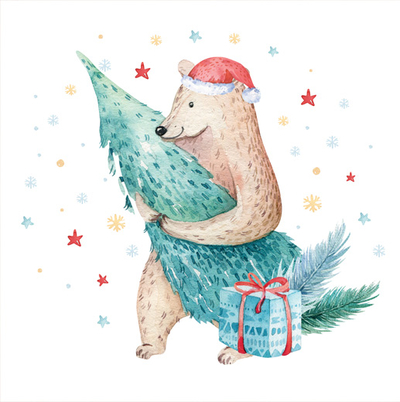 Bear with a Christmas tree