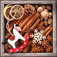 Christmas spices and rocking horse