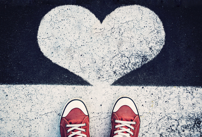 Red sneakers and heart