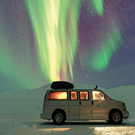Van under the aurora borealis