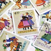 Polish retro folk post stamps