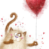 Fluffy cat with a heart-shaped balloon