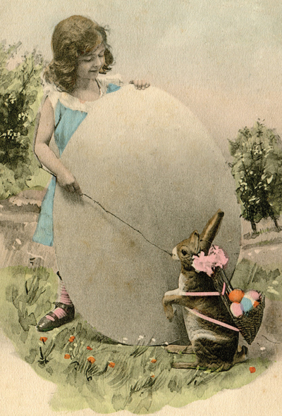Girl with Easter Egg and Bunny