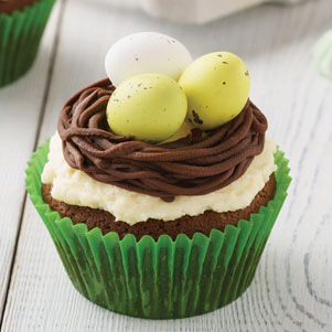 Easter cupcake with a nest