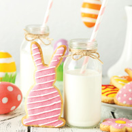 Easter cookies, milk and eggs