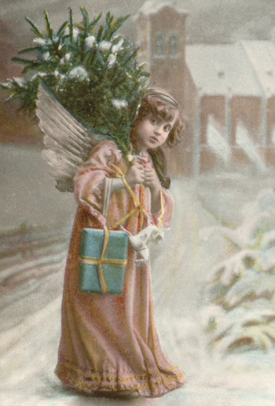 Angel with a christmas tree