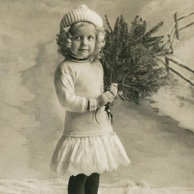 Girl with a christmas tree