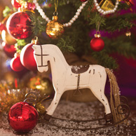 Rocking horse and a Christmas tree