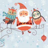 Santa Claus and owls