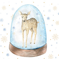 Christmas deer in a crystal ball