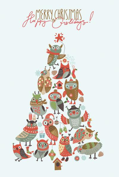 owl christmas tree - Owl Christmas