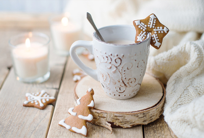 Christmas chocolate with gingerbreads