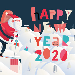 Happy New Year 2020 - Santa Claus skiing