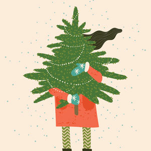 Merry Christmas - girl with a Christmas tree