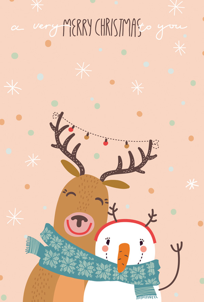 Merry Christmas - reindeer and snowman